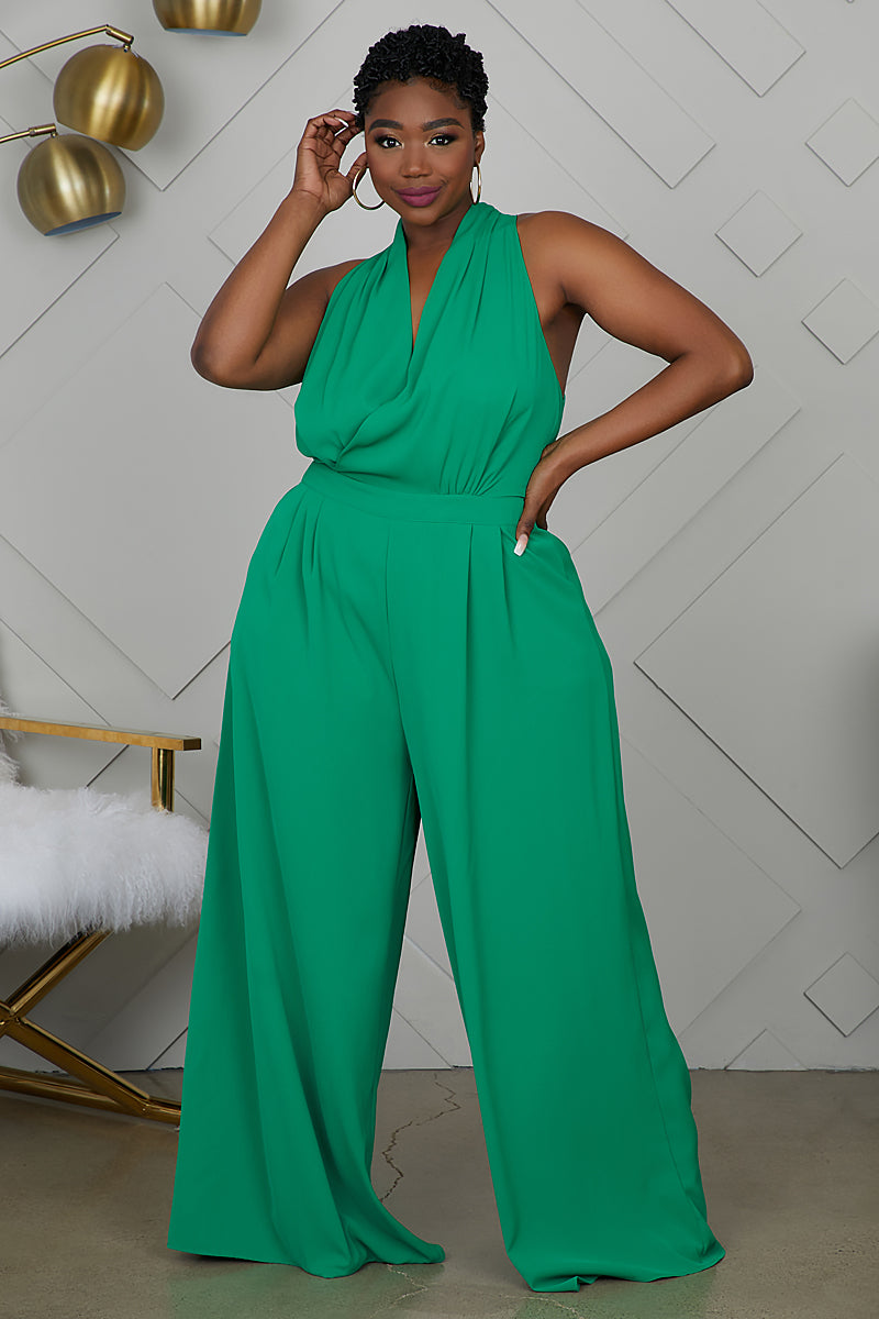 Curvy Wide Leg Jumpsuit (Green)