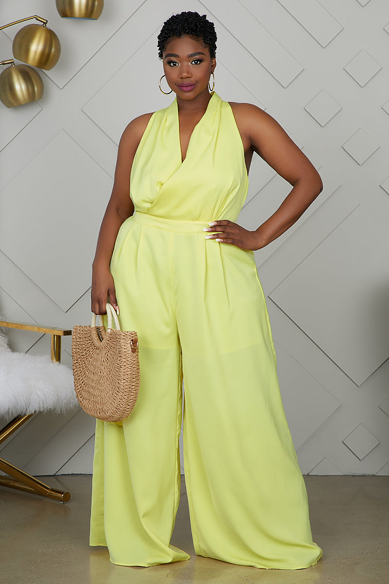 Curvy Wide Leg Jumpsuit (Yellow)
