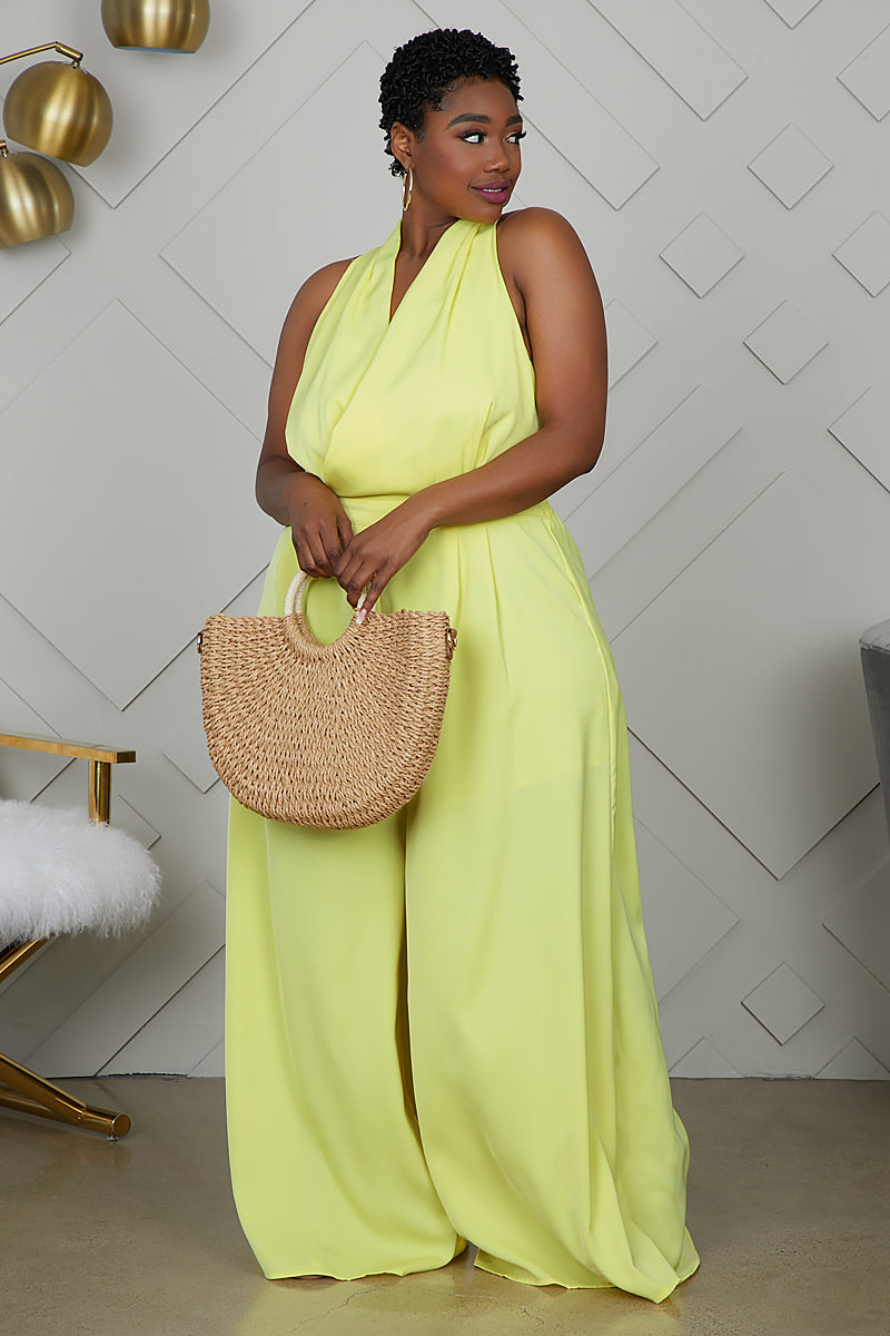 Curvy Wide Leg Jumpsuit (Yellow)- FINAL SALE