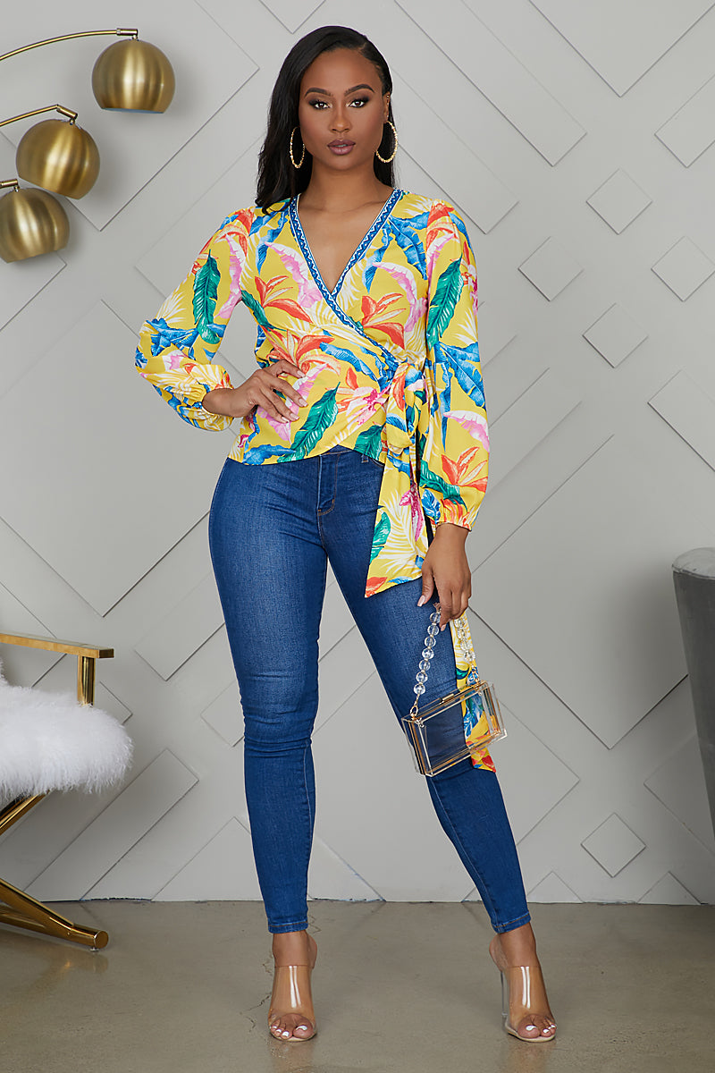 Tropical Wrap Top (Yellow)