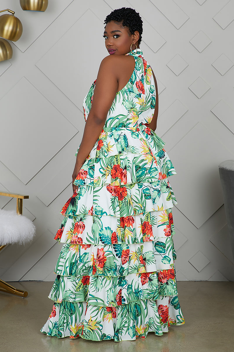 Curvy Tropical Ruffle Maxi Dress