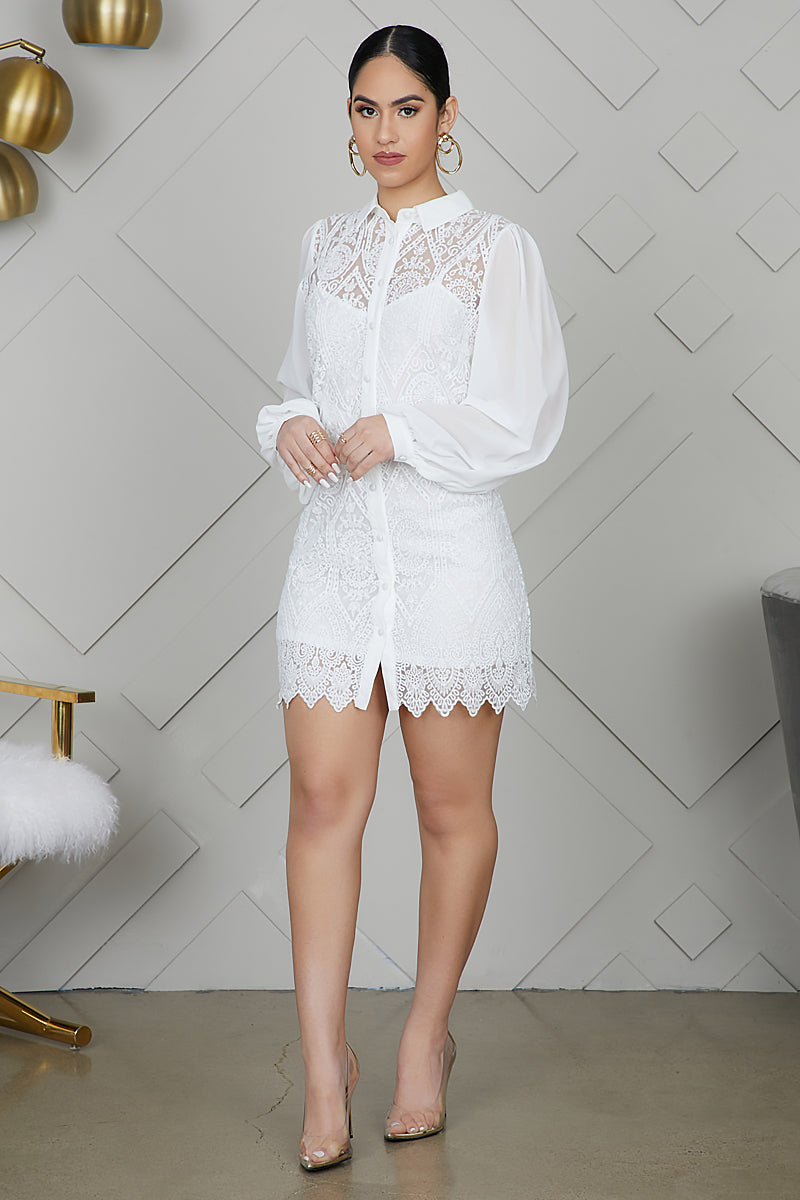 Embroidered White Mini Dress