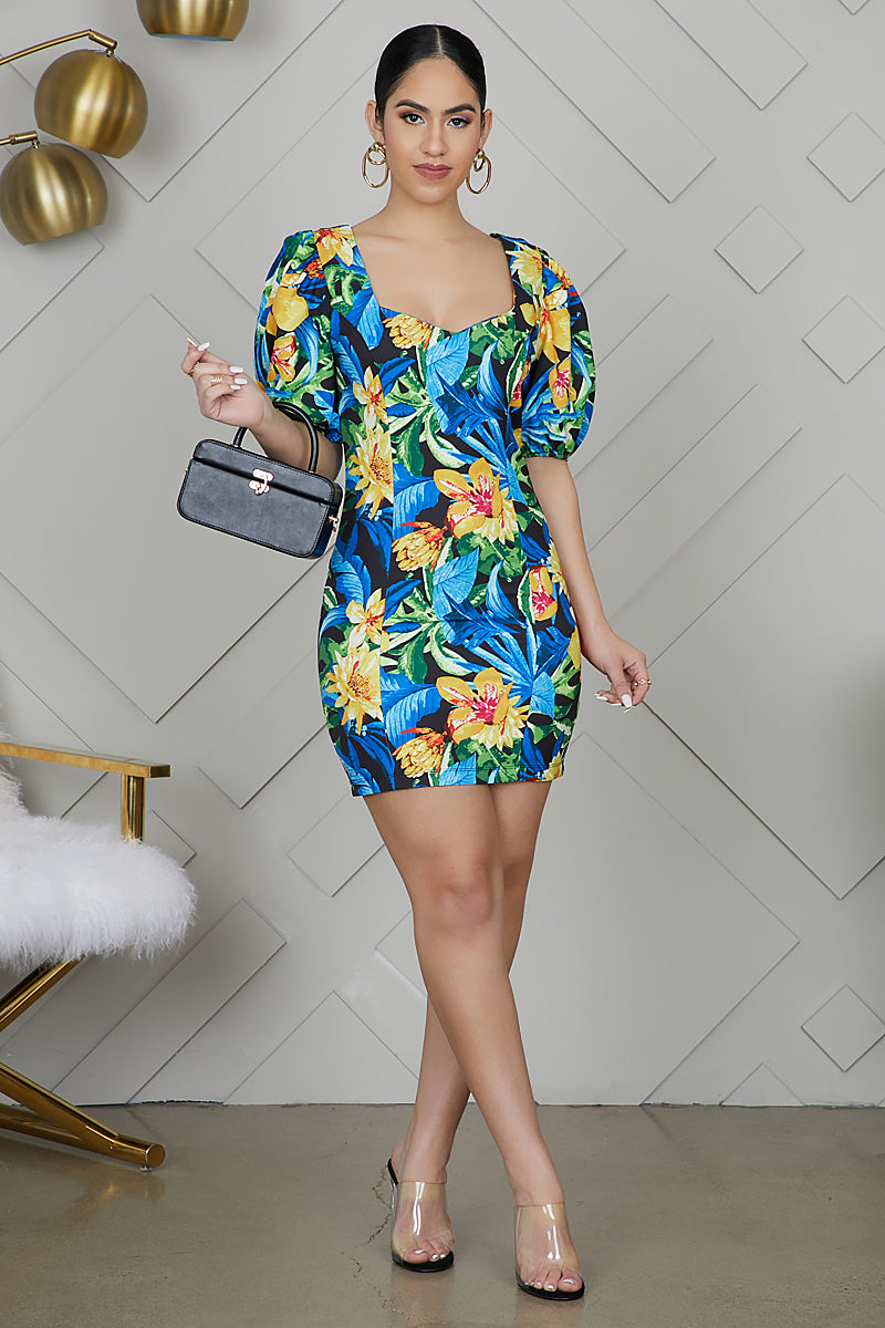 Puff Sleeve Tropical Floral Dress