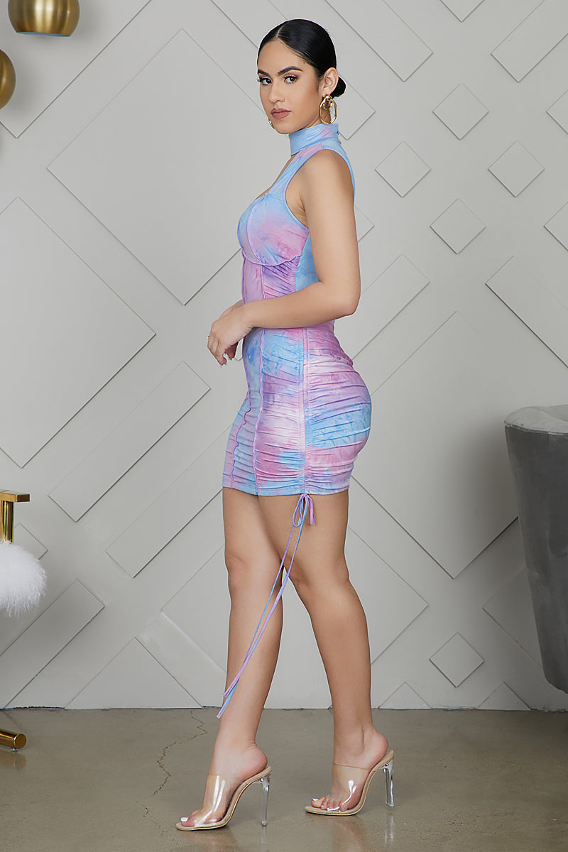 Cotton Candy Tie Dye Bodycon Dress- FINAL SALE