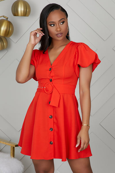 Puff Sleeve Button Up Dress (Red Orange)- FINAL SALE