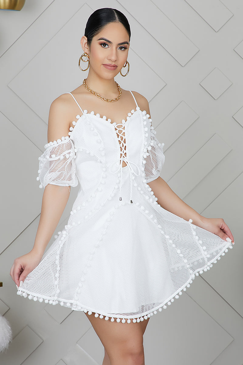 Cold Shoulder Net Mini Dress (White)- FINAL SALE
