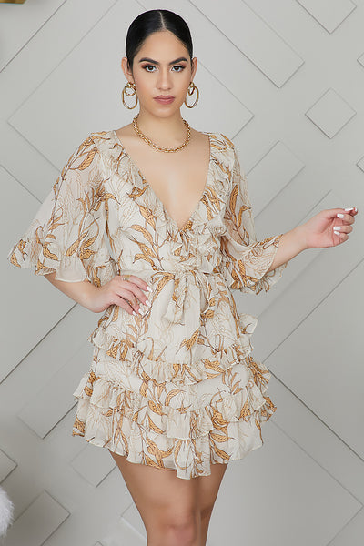 Plunging Neck Leaf Print Dress