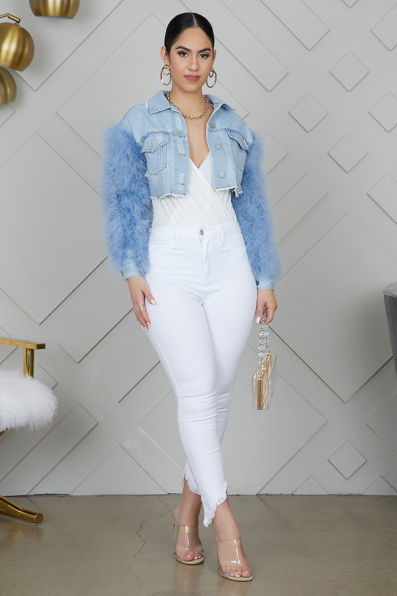 Feather Sleeved Denim Cropped Jacket (Blue)