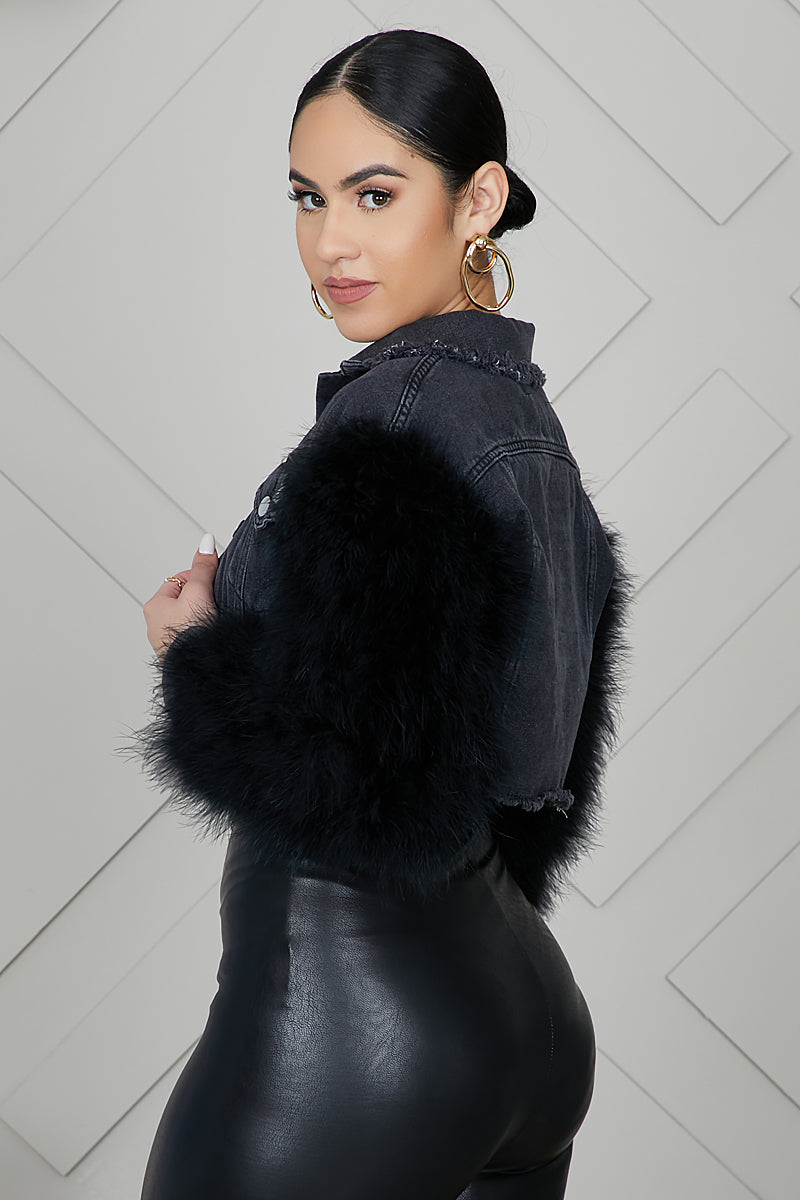 Feather Sleeved Denim Cropped Jacket (Black)