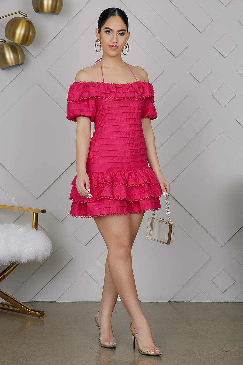 Off The Shoulder Ruffle Mini Dress (Hot Pink)- FINAL SALE