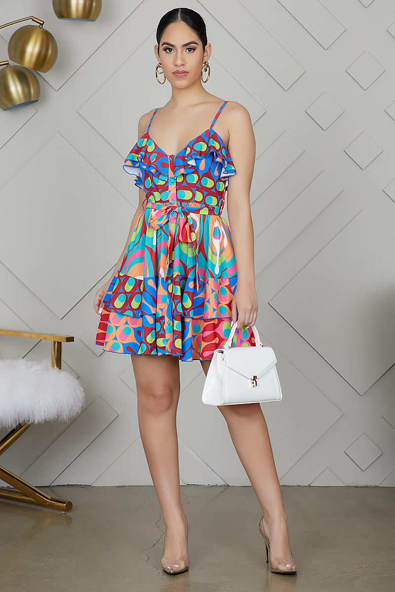 Geometrical Ruffle Mini Dress