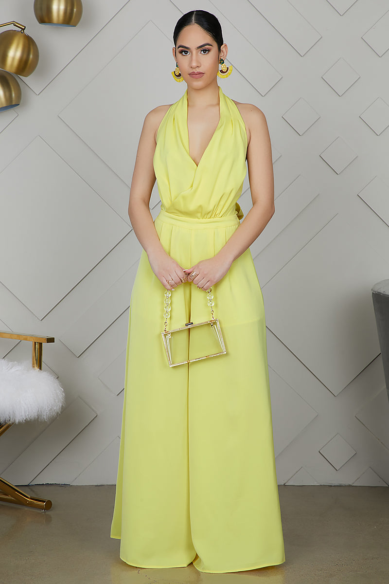 Wide Leg Jumpsuit (Yellow)