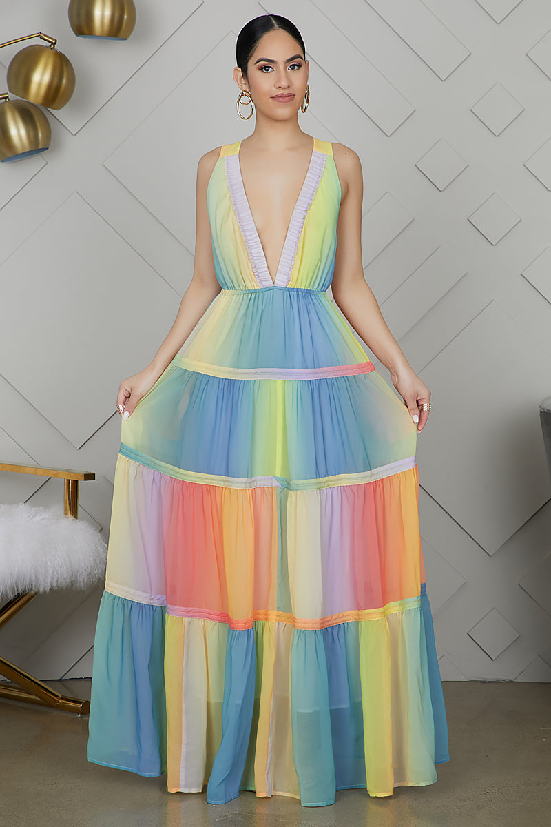Pastel Ombre V-neck Maxi Dress
