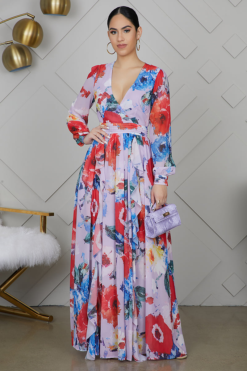 Floral Ruffle Maxi Dress (Purple)