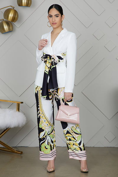 Floral Silk Print Blazer Pants Suit Set