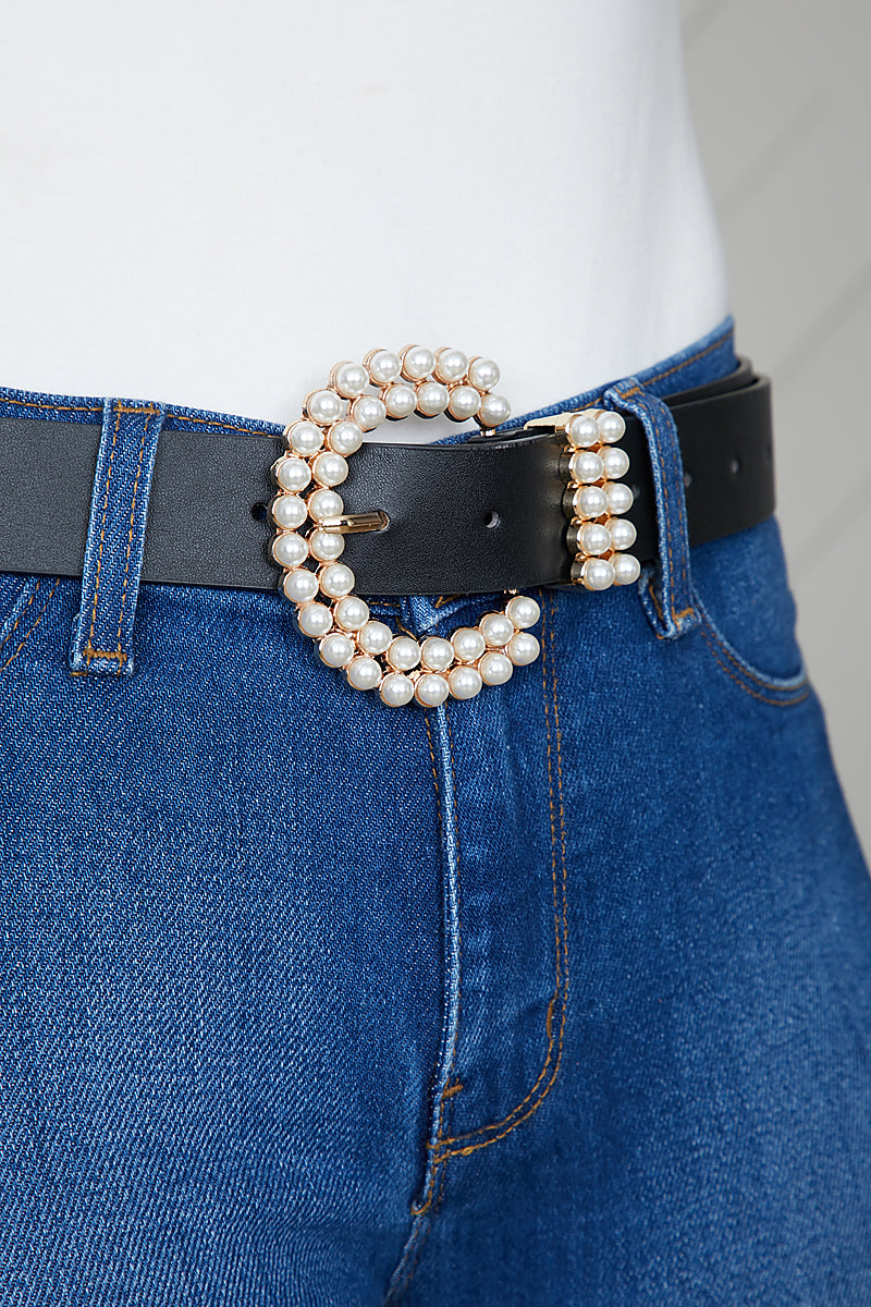 Pearl Buckle Belt (Black)