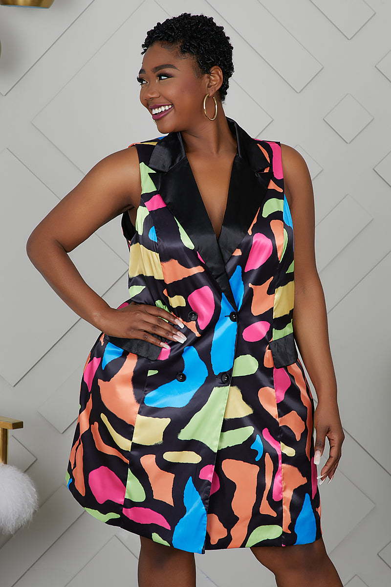 Curvy Sleeveless Blazer Dress (Multi Color)
