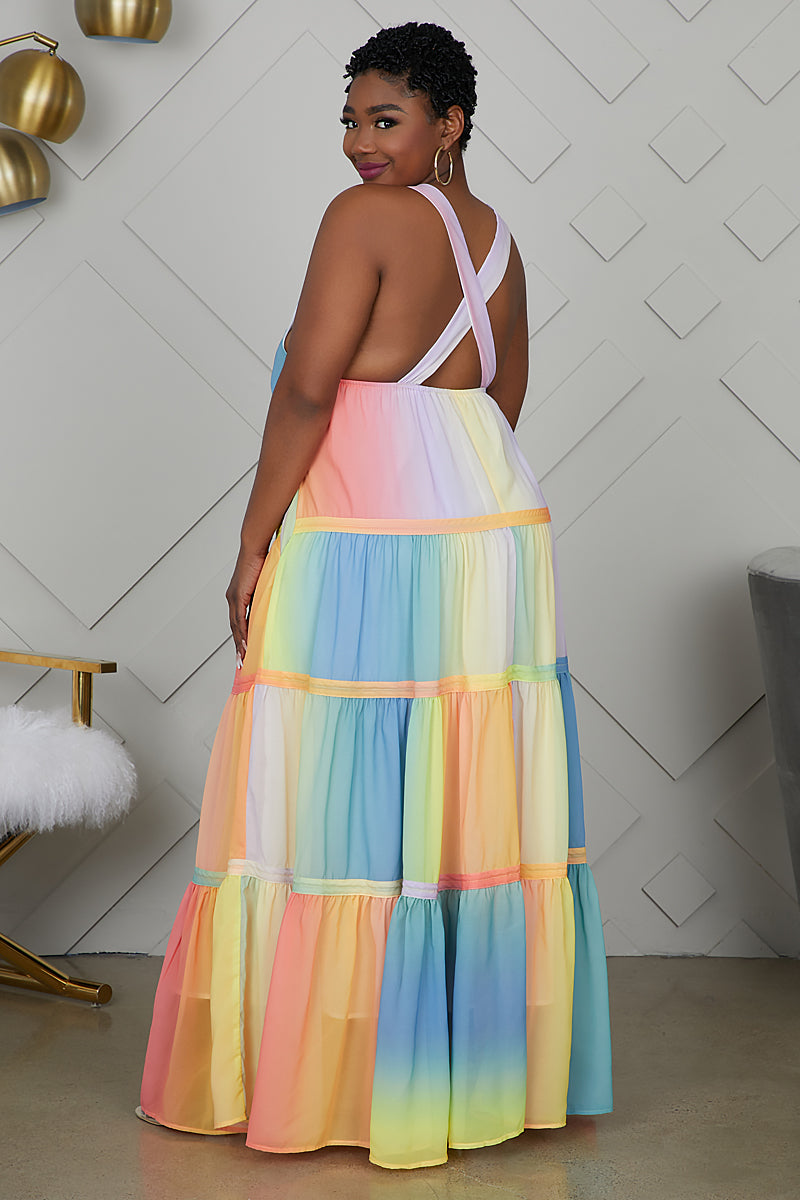 Curvy Pastel Ombre V-neck Maxi Dress