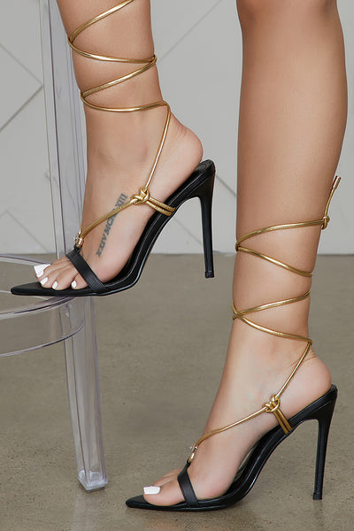 Mistie Laced Up Heels (Black/Gold)