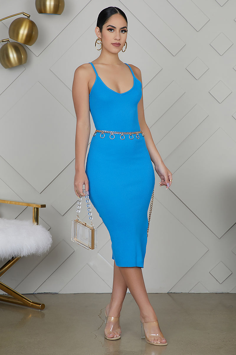 Ribbed Bodycon Dress (Blue)
