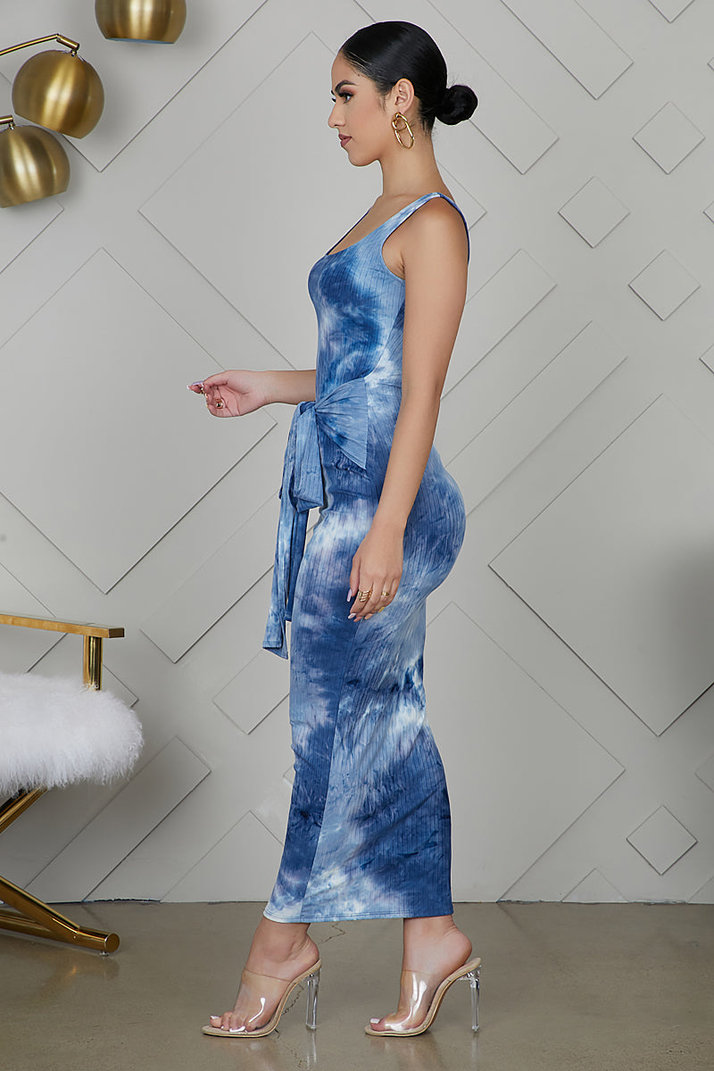 Tie Dye Front Tie Dress (Blue)