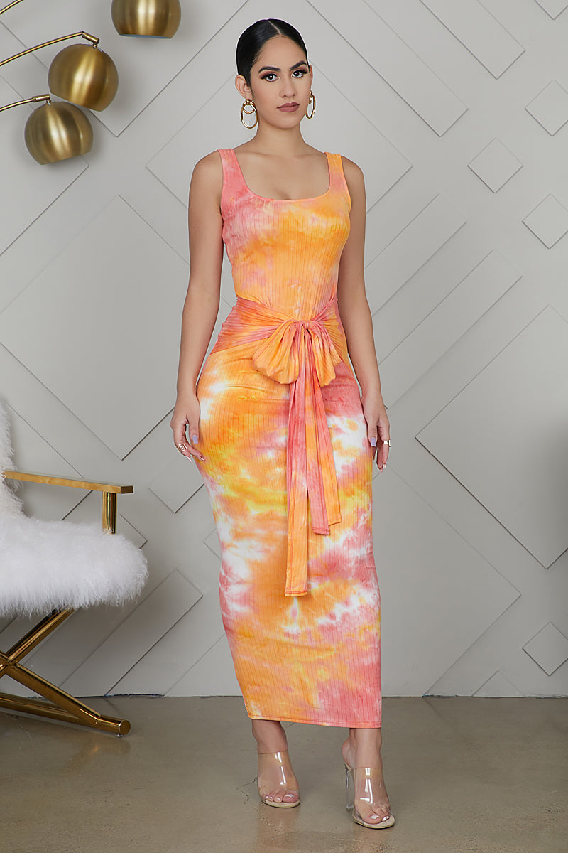 Tie Dye Front Tie Dress (Orange)