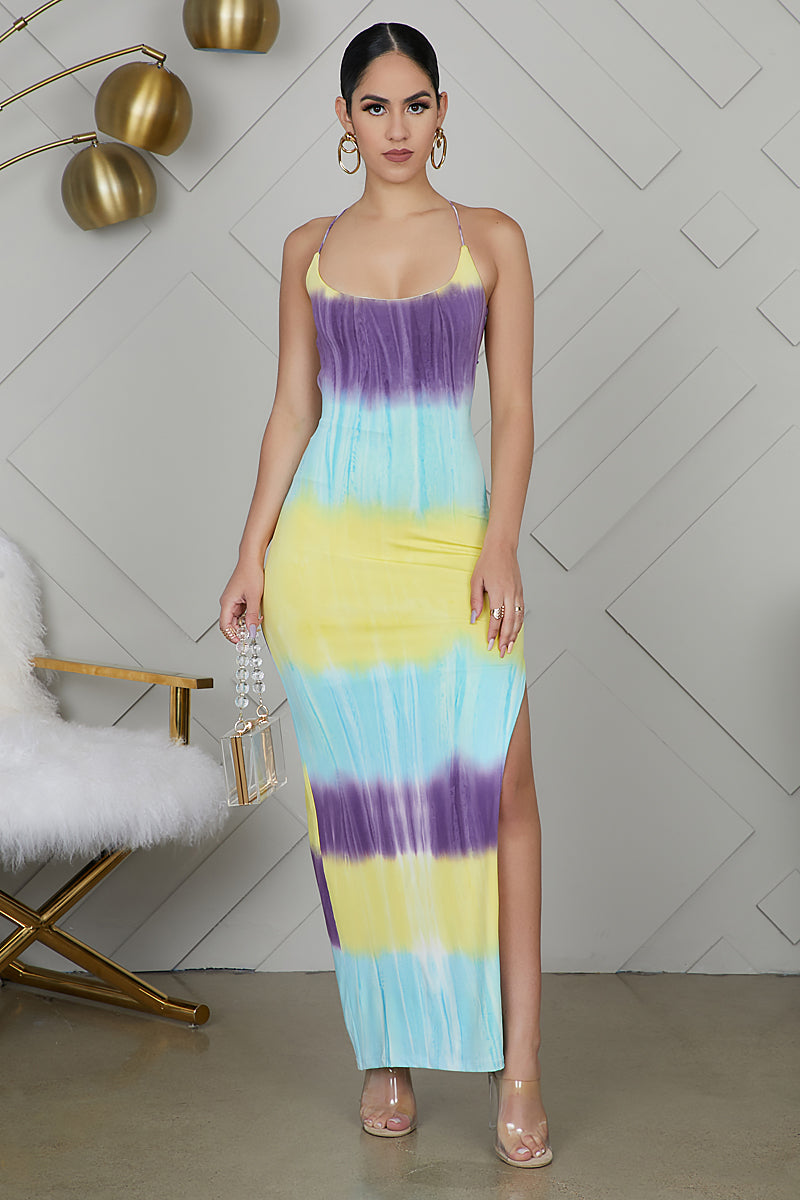 Tie Open Back Dress (Purple)