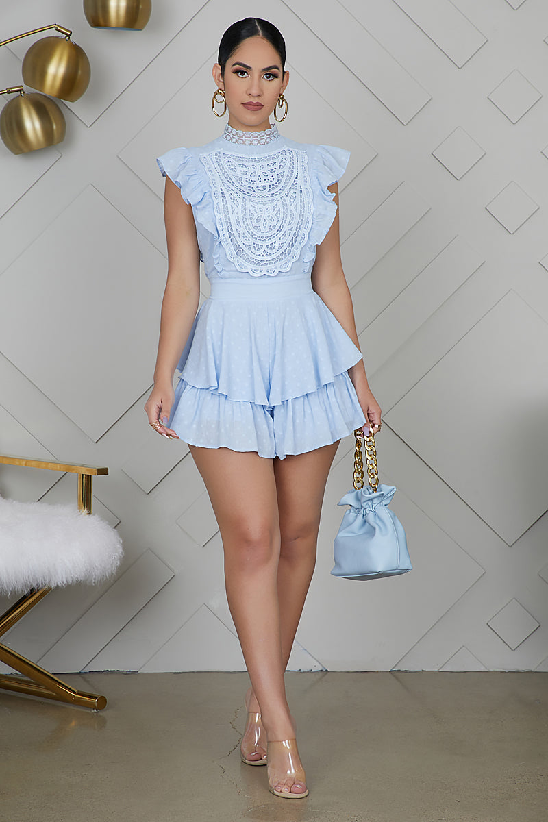 Embroidered Ruffle Romper (Blue)