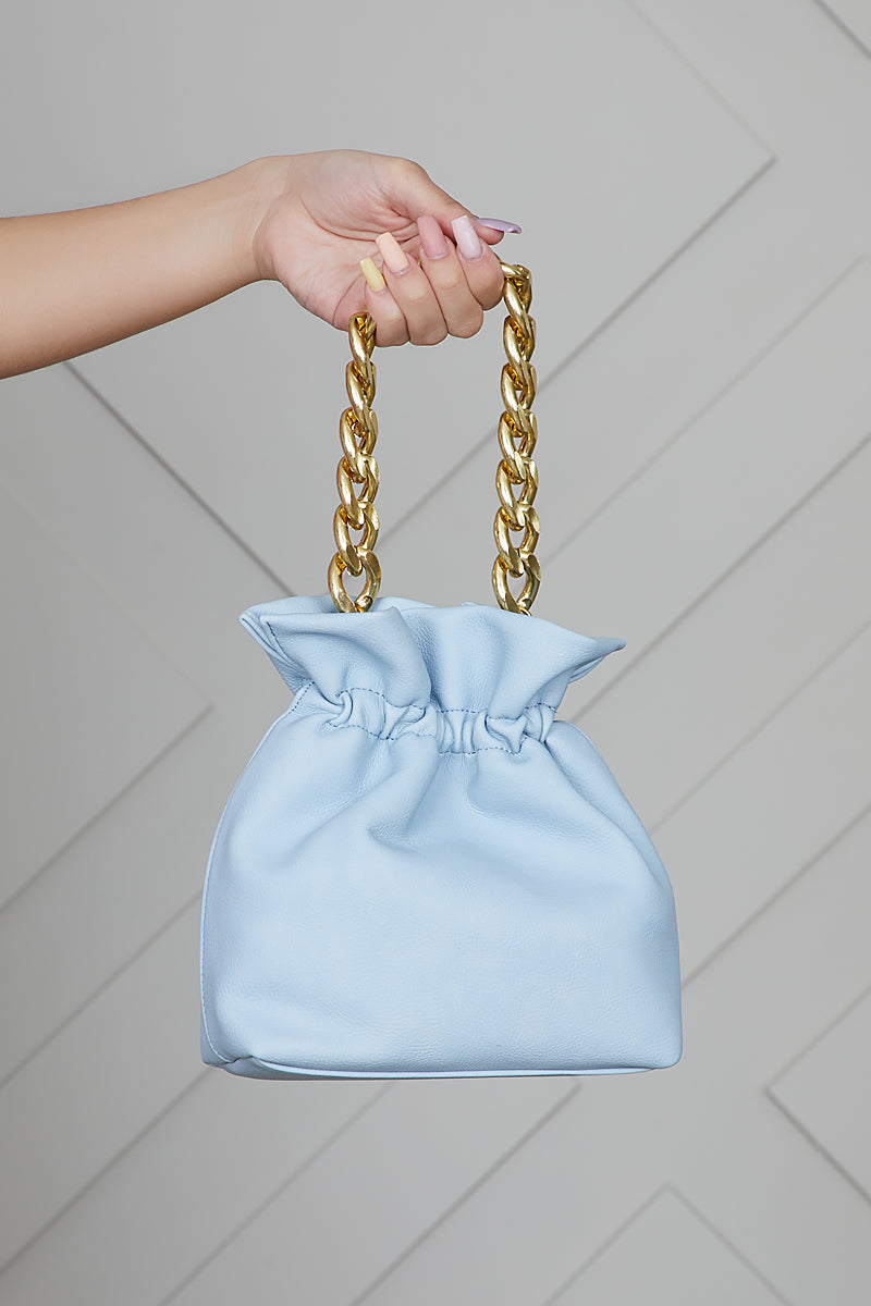 Chain Link Bucket Bag (Blue)