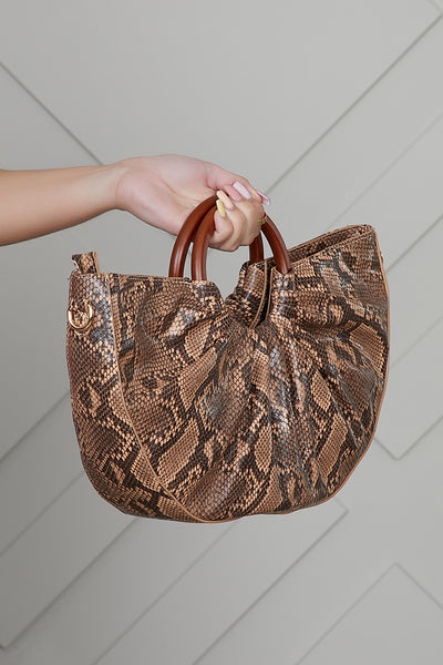 Hobo Top Handle Bag (Snake Print)