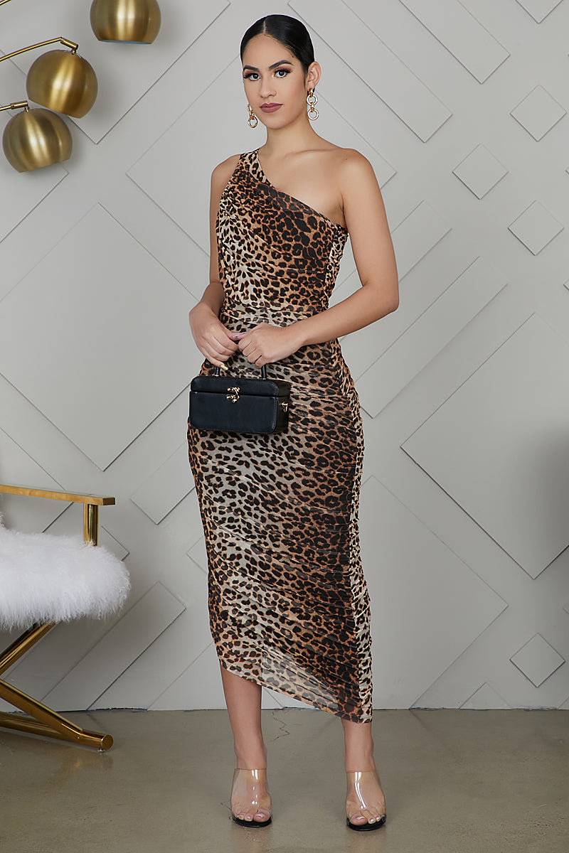 One Shoulder Leopard Dress