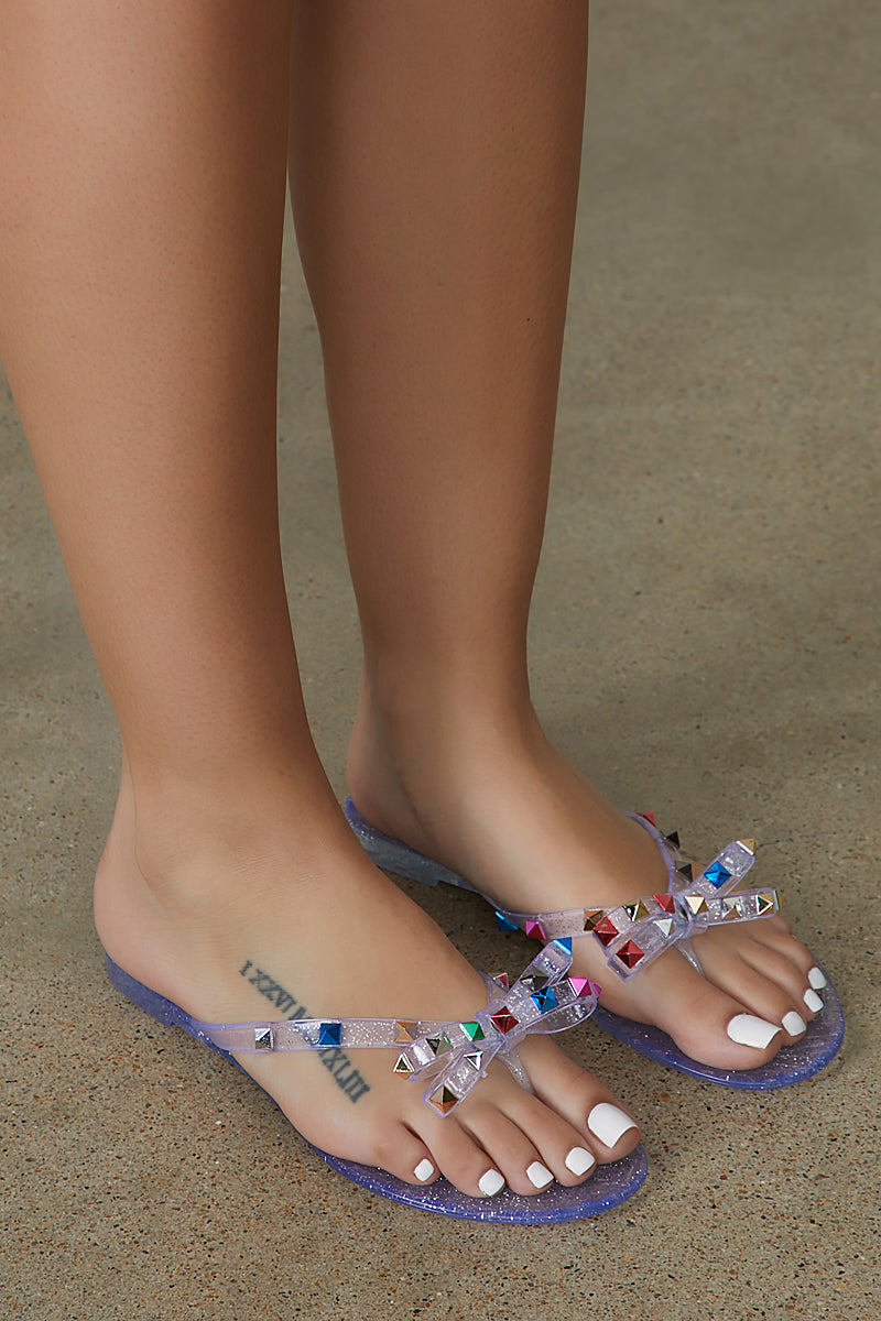 Studded Clear Jelly Bow Sandal