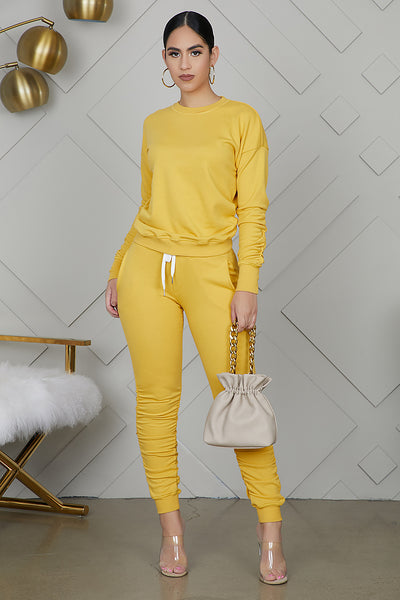 Ruched Sweatsuit Jogger Set (Mustard)