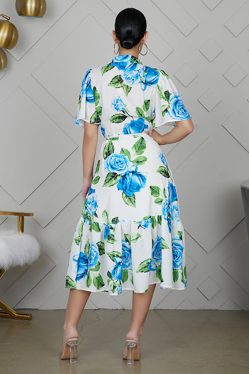 Floral Button Front Midi Dress - FINAL SALE
