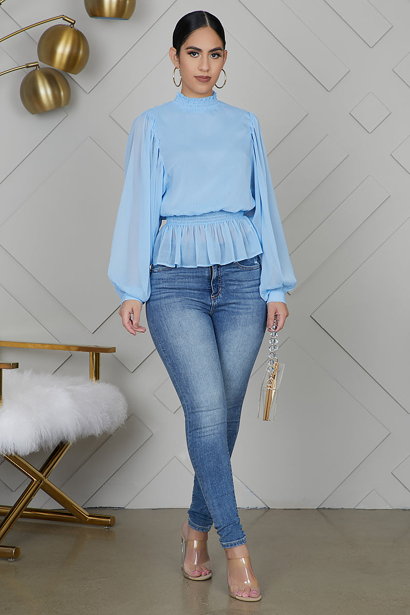 High Neck Ruffle Top (Baby Blue)