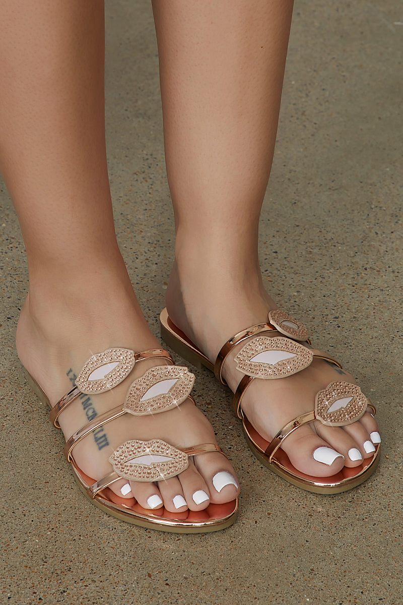 Kiss Me Lip Sandals (Rose Gold)