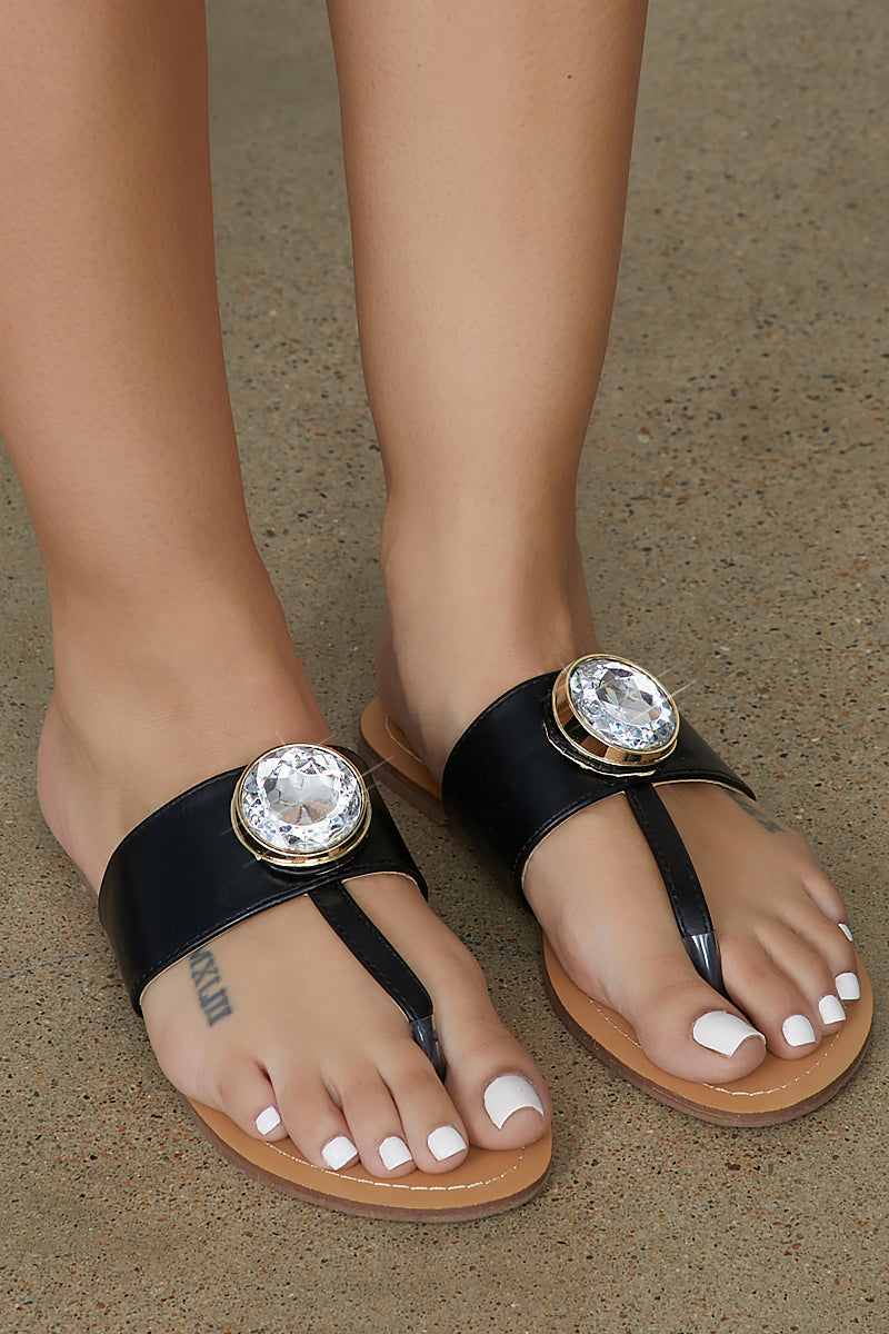 Big Jewel Thong Sandal (Black) - FINAL SALE