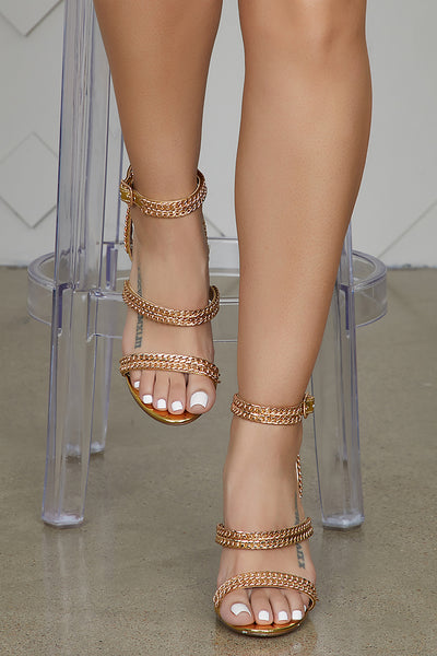 Chain Strap Heel (Gold)