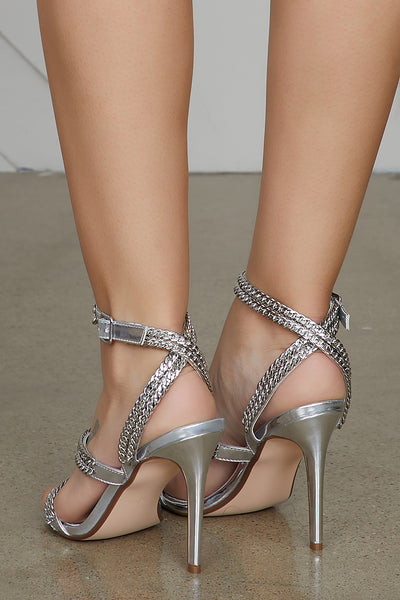 Chain Strap Heel (Silver)- FINAL SALE