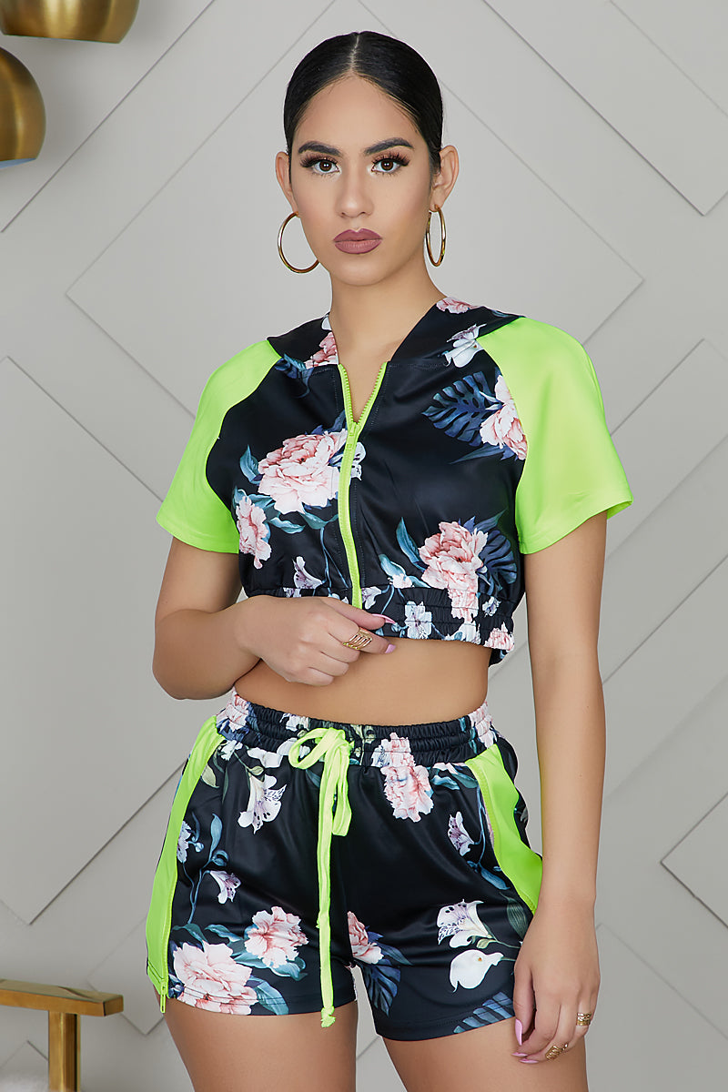 Floral Shorts Set (Neon Green)