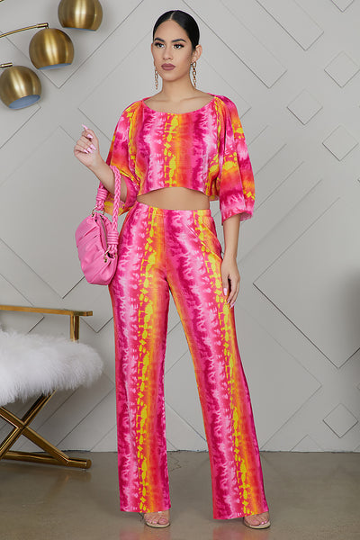 Tie Dye Wide Leg Pants Set (Pink)