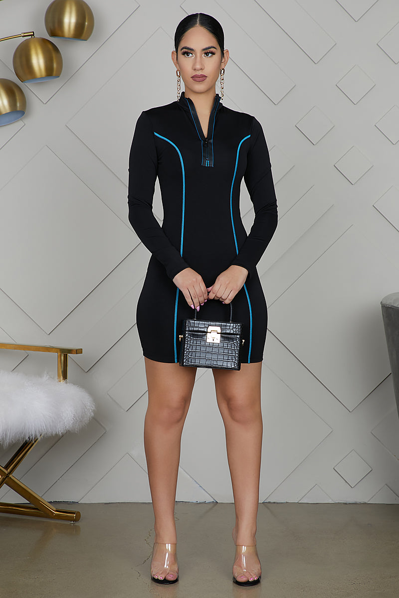High Neck Zip Up Bodycon Dress (Blue)