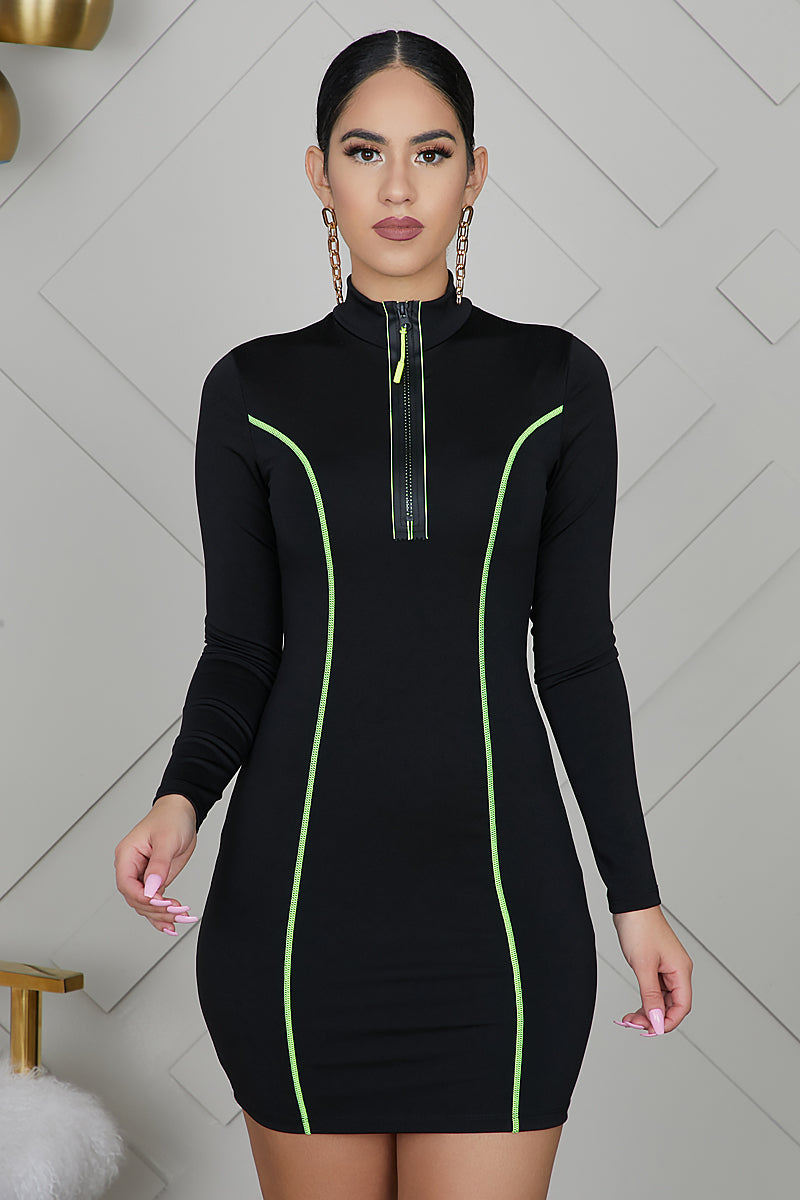 High Neck Zip Up Bodycon Dress (Lime)