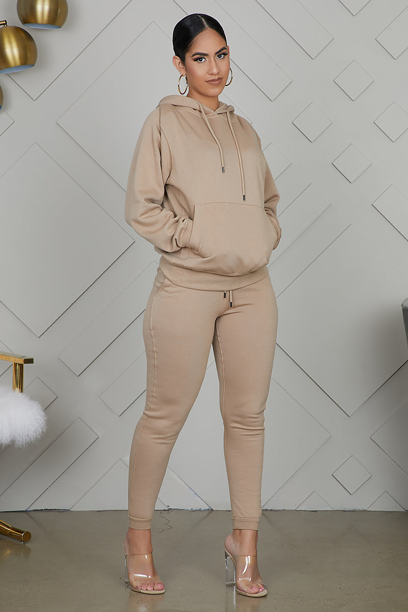 Drawstring Pullover Hoodie Jogger Set (Taupe)