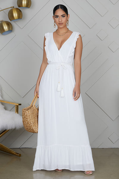 V-neck Maxi Dress (White)- FINAL SALE