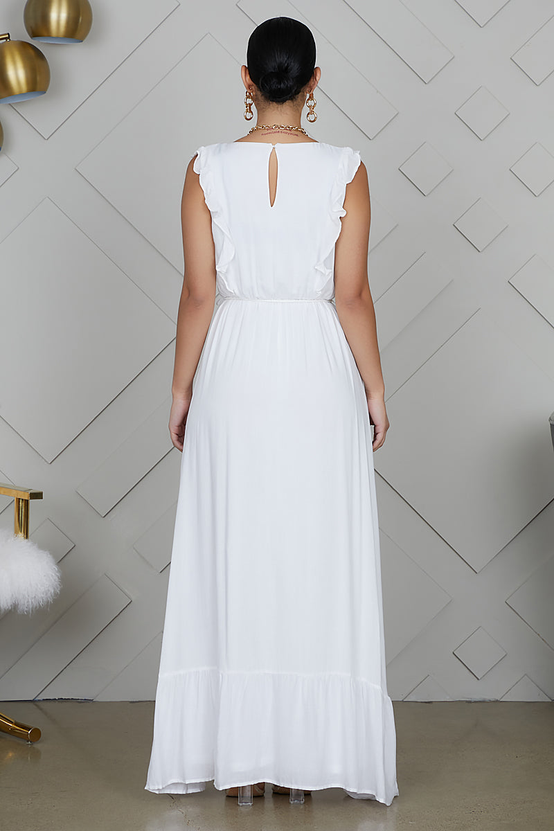 V-neck Maxi Dress (White)