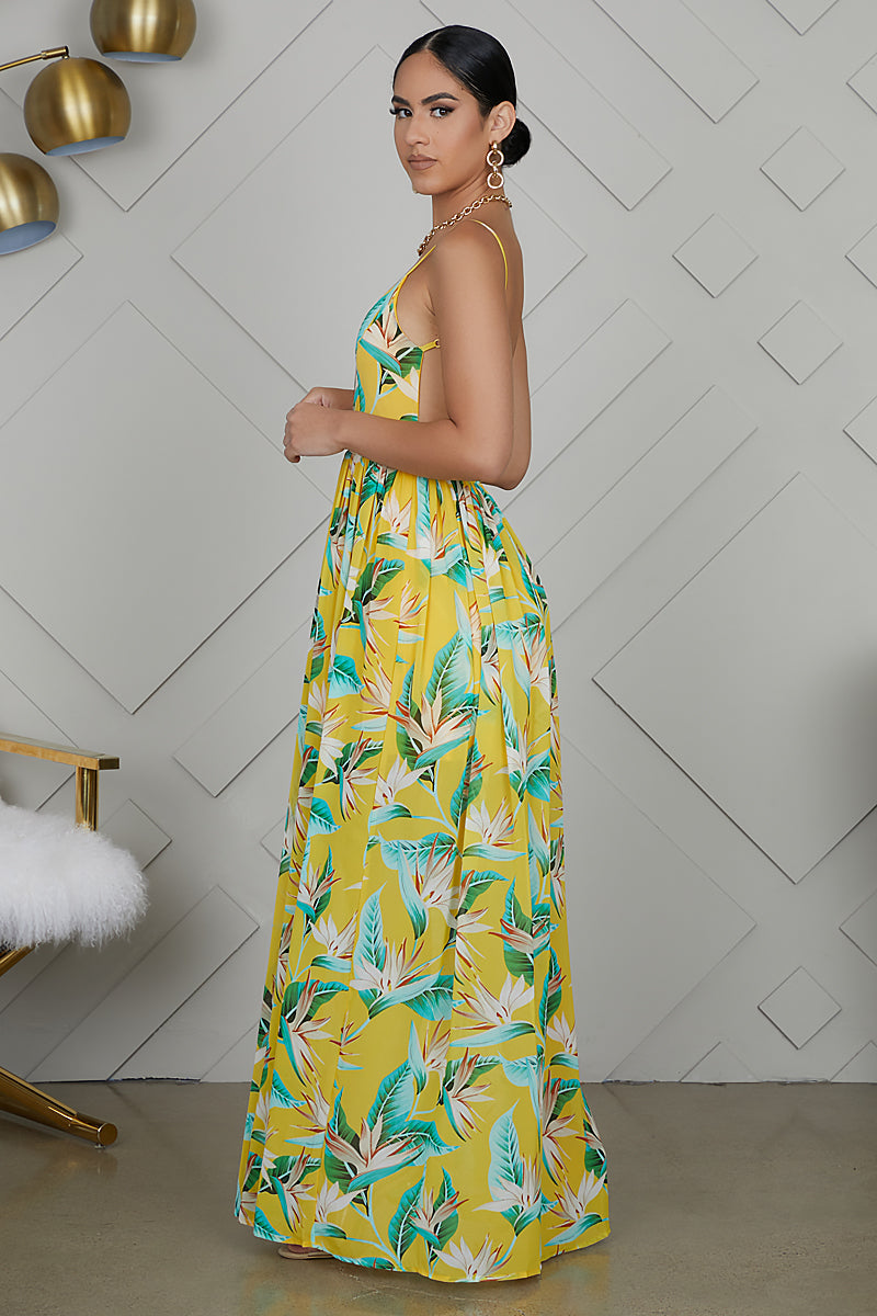 Backless Floral Print Maxi Dress (Yellow)