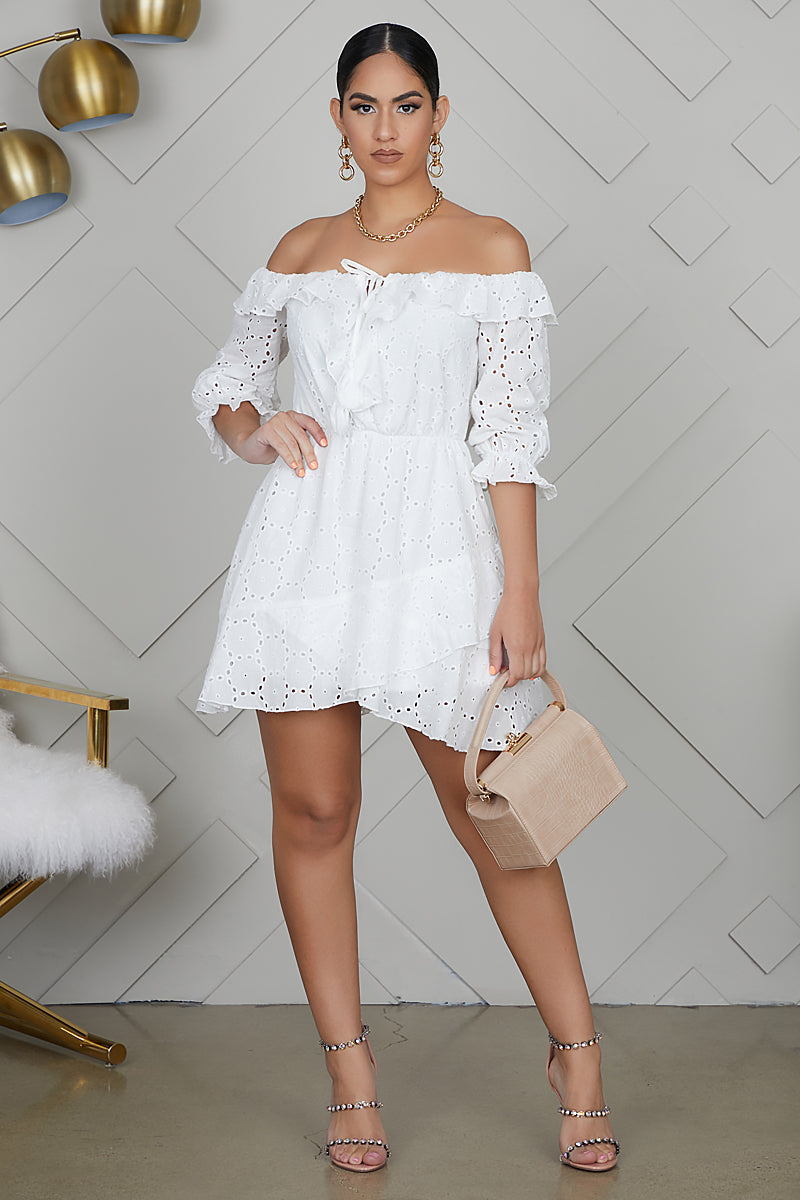 Embroidered Off The Shoulder Mini Dress (White)- FINAL SALE