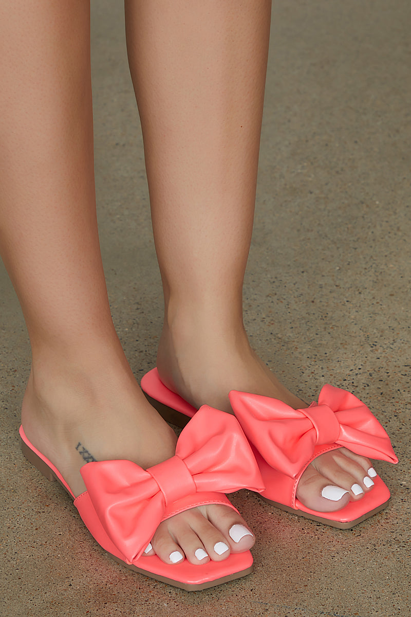 Bow Tie Slides (Coral) - FINAL SALE