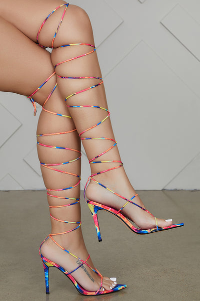 Pointed Toe Thong Lace Up Heel (Multi)